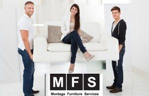 Full length portrait of movers carrying sofa with happy client woman sitting
